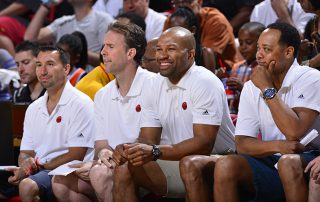 LAS VEGAS, NV - JULY 11: Head Coach, Derek Fisher on the bench during the game against the San Antonio Spurs on July 11, 2015 at Thomas & Mack Center, Las Vegas, Nevada.  NOTE TO USER: User expressly acknowledges and agrees that, by downloading and or using this Photograph, user is consenting to the terms and conditions of the Getty Images License Agreement. Mandatory Copyright Notice: Copyright 2015 NBAE (Photo by David Dow/NBAE via Getty Images)