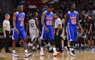 LAS VEGAS, NV - JULY 11: Langston Galloway #2, Thanasis Antetokounmpo #43 and Maurice Ndour #55 of the New York Knicks walk toward the bench during the game against the San Antonio Spurs on July 11, 2015 at Thomas & Mack Center, Las Vegas, Nevada.  NOTE TO USER: User expressly acknowledges and agrees that, by downloading and or using this Photograph, user is consenting to the terms and conditions of the Getty Images License Agreement. Mandatory Copyright Notice: Copyright 2015 NBAE (Photo by David Dow/NBAE via Getty Images)