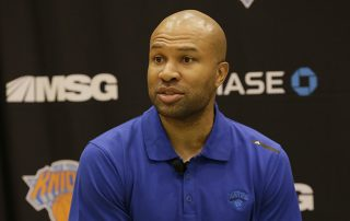 TARRYTOWN, NY - JUNE 26: New York Knicks Head Coach Derek Fisher speaks to the media at the Madison Square Garden Training Facility on June 26, 2015 in Tarrytown, New York. NOTE TO USER: User expressly acknowledges and agrees that, by downloading and or using this photograph, User is consenting to the terms and conditions of the Getty Images License Agreement. Mandatory Copyright Notice: Copyright 2015 NBAE (Photo by Steven Freeman/NBAE via Getty Images)