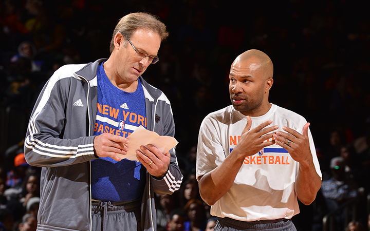 NEW YORK, NY - OCTOBER 26: Kurt Rambis and Derek Fisher of the New York Knicks during open practice at Madison Square Garden on October 26, 2014 in New York City, New York. NOTE TO USER: User expressly acknowledges and agrees that, by downloading and/or using this Photograph, user is consenting to the terms and conditions of the Getty Images License Agreement. Mandatory Copyright Notice: Copyright 2014 NBAE (Photo by David Dow/NBAE via Getty Images)