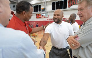 LAS VEGAS, NV - AUGUST 11:  Alvin Gentry of the New Orleans Pelicans talks to Derek Fisher of the New York Knicks at a USAB minicamp at UNLV on August 11, 2015 in Las Vegas, Nevada. NOTE TO USER: User expressly acknowledges and agrees that, by downloading and/or using this Photograph, user is consenting to the terms and conditions of the Getty Images License Agreement. Mandatory Copyright Notice: Copyright 2015 NBAE (Photo by Andrew D. Bernstein/NBAE via Getty Images)